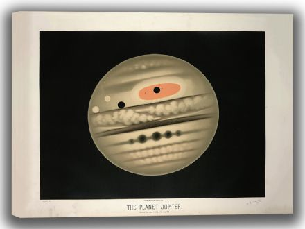 Trouvelot, Etienne Leopold: The Planet Jupiter. (The Trouvelot Astronomical Drawings, 1882). Astronomy/Space Canvas. Sizes: A4/A3/A2/A1 (0099)